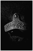 Coke Black Posters - Coke Bottle Opener - BW Poster by Steve Hurt