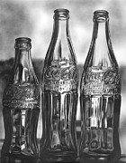 Glass Drawings Originals - Coke Bottles by Jerry Winick