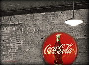Fine Bottle Posters - Coke Cola Sign Poster by Paulette Wright
