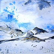 Winter Landscape Painting Originals - Col du Pourtalet in the Pyrenees 01 by Miki De Goodaboom