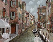 Oil Prints - colazione a Venezia Print by Guido Borelli