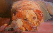 Yellow Lab Paintings - Colbys Bone by Kimberly Santini