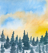 Cold Morning Sun Paintings - Cold Dawn by R Kyllo