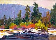 Sun River Paintings - Cold Day on the Deschutes by Susan F Greaves