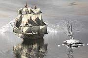 Tall Ships Prints - Cold Silence Print by Claude McCoy