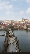 Charles Bridge Prints - Cold Spring Morning From Charles Bridge Tower Print by Loud Waterfall Photography Chelsea Sullens
