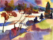 Snow Scene Paintings - Cold Valley by Mary Lomma