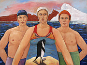 Quirky Painting Framed Prints - Cold Water Swimmers Framed Print by Paula Wittner