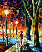 Autumn Landscape Painting Prints - Cold Winter Print by Leonid Afremov