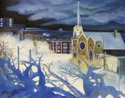 Library Paintings - Cold Winter Night Library Park Kenosha Wisconsin  by Kenneth Michur