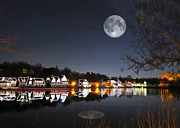 Philly Painting Posters - Cold Winters Night on Boathouse Row Poster by Elaine Plesser