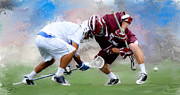 Lacrosse Paintings - Colgate faceoff win by Scott Melby