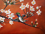 Sakura Paintings - Colibri  close up by Angel Ortiz