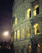 Italian Sunset Posters - Coliseum At Night With Full Moon Poster by Axiom Photographic