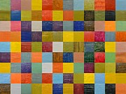 Colorful Quilts Posters - Collage Color Study 108 Poster by Michelle Calkins