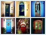 Architectural Garden Scene Posters - Collage of Charleston Doors Poster by Susanne Van Hulst