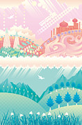 Lush Colors Digital Art Posters - Collage Of Two Landscapes Poster by Takuya Kuriyama