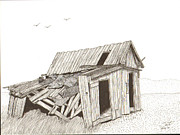 Barn Pen And Ink Drawings Prints - Collapsed Print by Pat Price