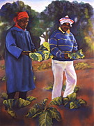 Sisters Pastels Framed Prints - Collard Greens III Framed Print by Curtis James