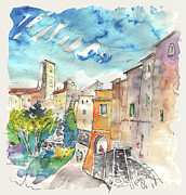 Townscape Drawings Framed Prints - Colle d Val d Elsa in Italy 02 Framed Print by Miki De Goodaboom