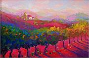 Landscapes Of Tuscany Paintings - Colle Verde Vineyard-Summer by Maryanne  Jacobsen