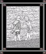 Children Walking Away Posters - Collecting Seashells by the Seashore Poster by Barbara Griffin