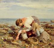 Low Tide Paintings - Collecting Shells  by William Marshall Brown