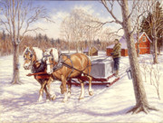 Sleigh Prints - Collecting The Sap Print by Richard De Wolfe