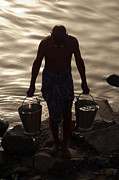 Cremation Photos - Collecting Water from the Ganges by Serena Bowles