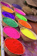 Green Chakra Prints - Collection Of Bright Coloured Powders For Use In The Making Of Bindis, Taken At Stall In Pushkar, Rajasthan, India Print by Cormac McCreesh