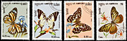 Danaus Genutia Prints - Collection of butterflies stamps. Print by Fernando Barozza