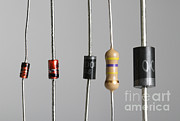 Electronic Resistance Prints - Collection Of Electronic Components Print by Photo Researchers
