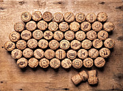 Merlot Photos - Collection Of Wine Corks On Shelves... by Matusciac Alexandru