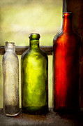 Recycle Prints - Collector - Bottles - Still life of three bottles  Print by Mike Savad