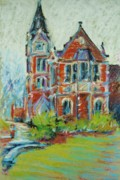 Brick Building Pastels - College Life by K M Pawelec