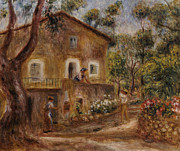 Red Road Paintings - Collettes House at Cagne by Pierre Auguste Renoir