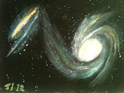 Galaxies Painting Metal Prints - Colliding Galaxies Metal Print by James Courtney