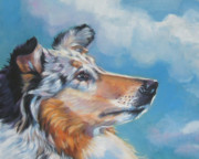 Collie Paintings - Collie blue merle portrait by Lee Ann Shepard