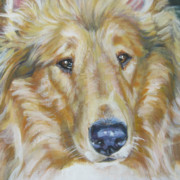 Collie Paintings - Collie close up by Lee Ann Shepard