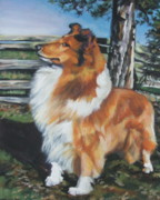 Collie Paintings - Collie on the Farm by Lee Ann Shepard