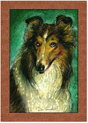 Signed Digital Art Posters - Collie Portrait Poster by Donald Carmichael