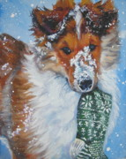 Snow Dog Posters - Collie puppy with Xmas stocking Poster by LA Shepard