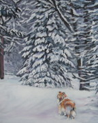 Rough Painting Prints - Collie sable Christmas tree Print by L A Shepard