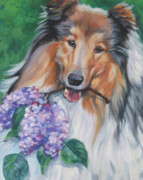 Collie Paintings - Collie with lilacs by Lee Ann Shepard