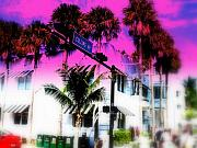Miami Digital Art Metal Prints - Collins Av South Beach Miami Metal Print by Funkpix Photo Hunter
