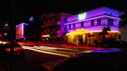 Collins Avenue Prints - Collins Avenue At Night Print by Frank Boellmann