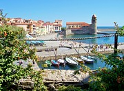 Knight Prints - Collioure from Knights of Templar Castle Print by Marilyn Dunlap
