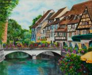 Village In Europe Posters - Colmar In Full Bloom Poster by Charlotte Blanchard