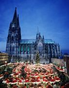 Nights Posters - Cologne Cathedral And Christmas Market Poster by Axiom Photographic