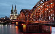 Illuminated Tapestries Textiles Metal Prints - Cologne Cathedral At Dusk Metal Print by Vulture Labs
